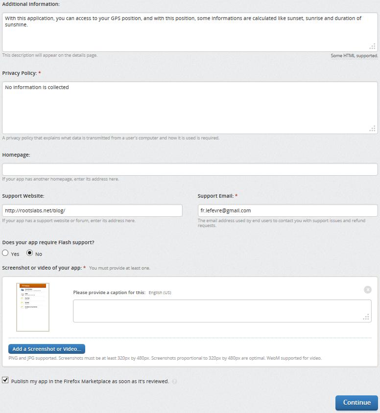 Firefox OS : Étape 3 (bas) pour publier une application