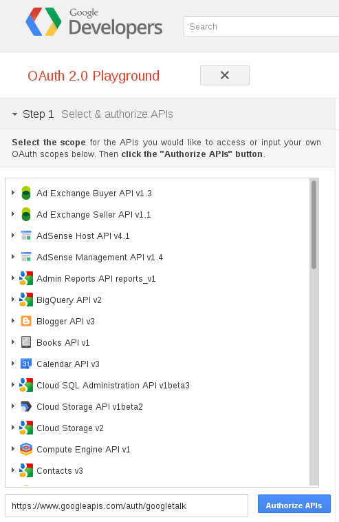 Google Talk : OAuth 2 : Etape 1