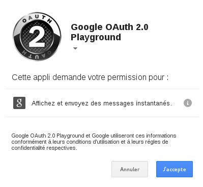 Google Talk : OAuth 2 : Etape 2