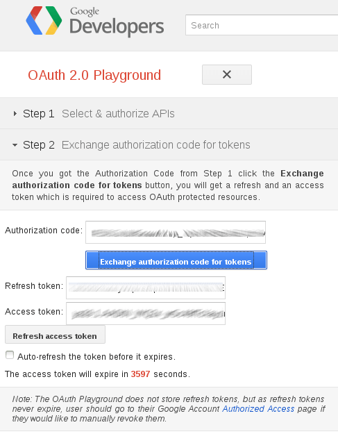 Google Talk : OAuth 2 : Etape 4