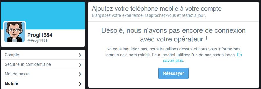 Twitter : Ajout d'un numéro de mobile français