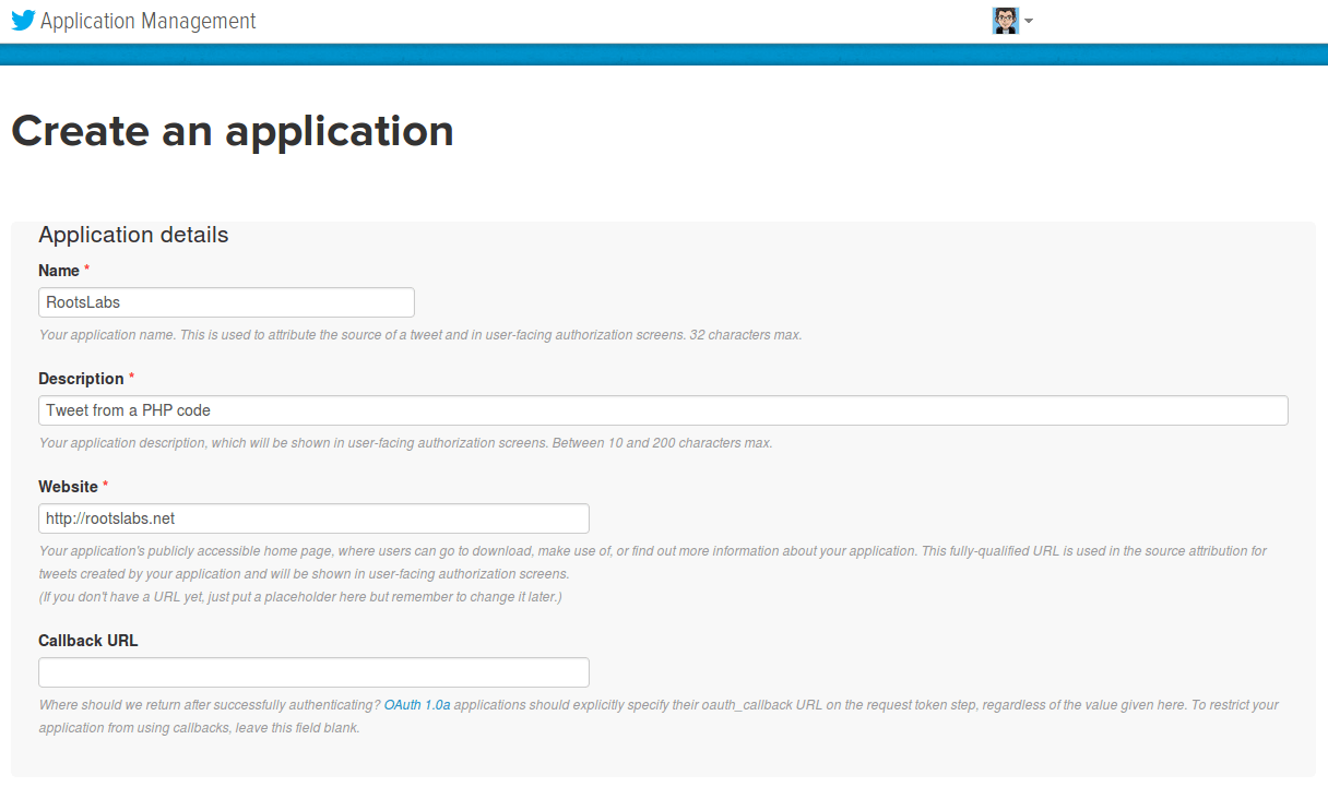 Twitter : Creation de l'application