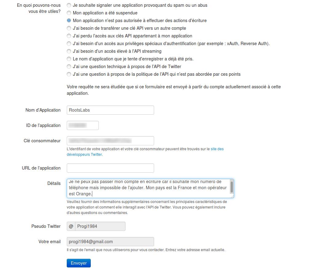 Twitter : Envoi d'un mail au support