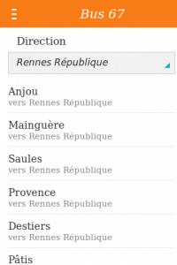 RennesToolbox : Affichage des arrêts d'une ligne