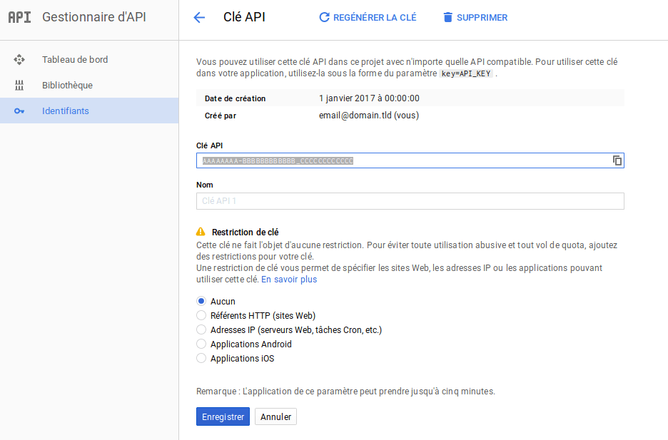Google APIs : Créer une application