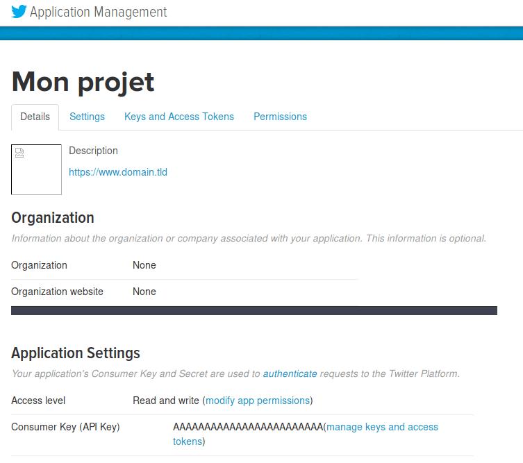 Twitter : Créer une application